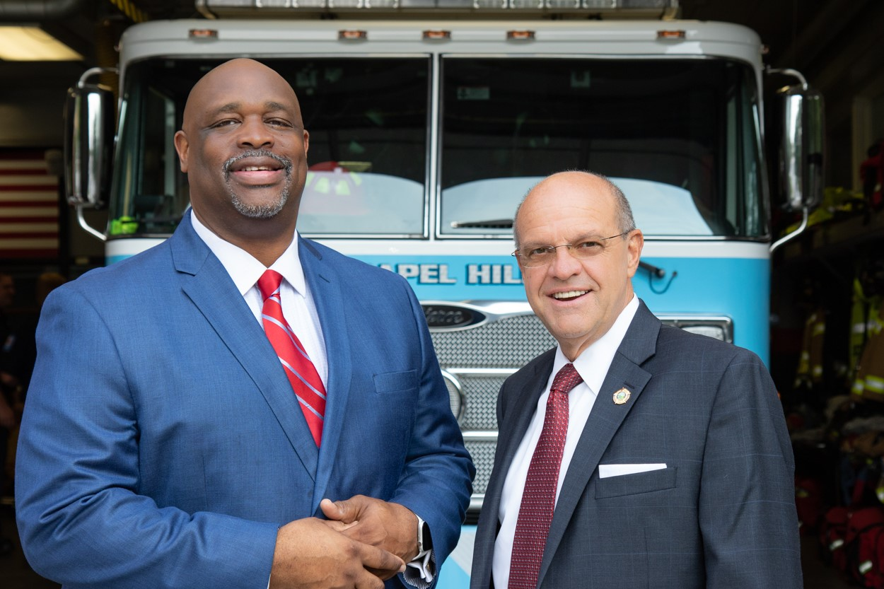 Assistant Vice Chancellor and Chief of Police David Perry visiting the Chapel Hill Fire Department